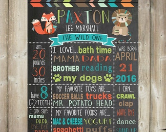 Wild One Birthday Chalkboard - First Birthday Milestone Sign - DIGITAL FILE