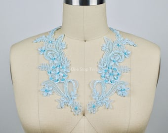 Maya Baby Blue 2 Part Beaded Lace Applique. With Pearl Like Beading and Tasteful Sequin Work.