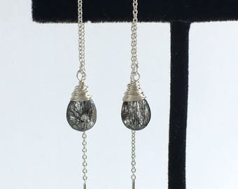 Boho Earrings for Women - Boho Earrings for Girlfriend - Tourmalated Quartz Earrings - Rutilated Quartz Earrings - Sterling Silver