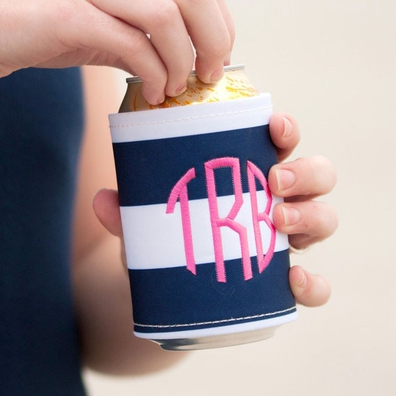 Drink Wrap Monogrammed Can Hugger Party Favors Navy and White Stripes Beverage Wrap Can Insulator Weddings Bridesmaid Gifts Highway12Designs