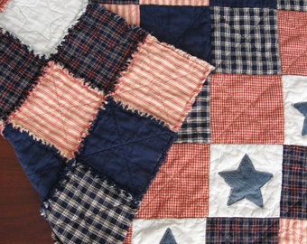 Baby Rag Quilt - READY to SHIP - Rag Quilt - Crib Quilt - Lap Quilt - Crib Bedding - Baby Blanket - Denim - Star - Plaid - Red - Navy