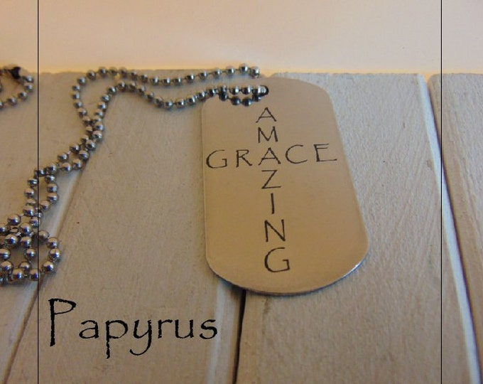 Amazing Grace Dog Tag shaped as a Cross, Stainless Steel,Five Styles available, Custom message or signature on the back in your hand writing