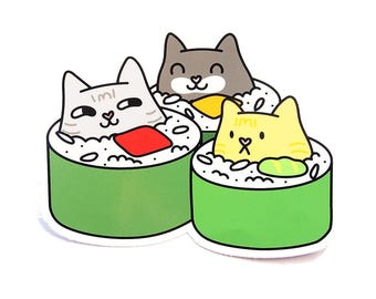 Trio Cat Sushi Rolls Vinyl Sticker