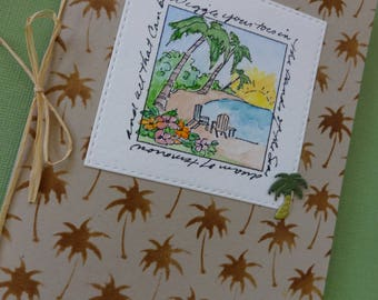 "Tropical themed beach card ""Wriggle your toes in the sands of the Sea"""