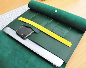 Green Leather Macbook Sleeve 13 Inch Laptop Sleeve for Macbook Air,Dell XPS,11 or 13 Inch Macbooks,Custom Laptop Case,New Macbook 12-085