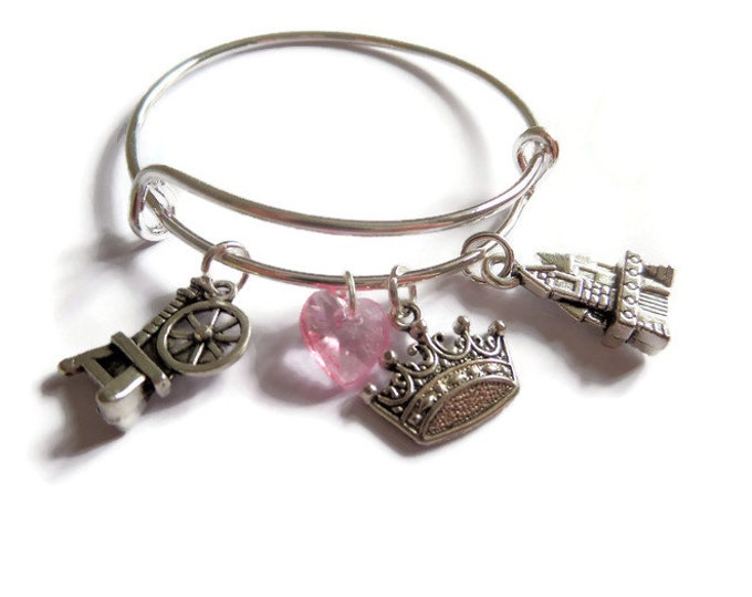 SLEEPING BEAUTY inspired silver charm bangle bracelet princess fan gift jewellery xmas party bag fillers Uk