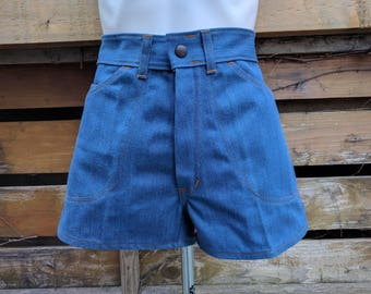 Vintage 1970's High Waist Blue Jean Shorts by DEANE 100% Cotton Deadstock New Never Worn