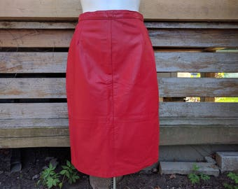 Vintage 1980's Lipstick Red Genuine Leather Knee Length Pencil Skirt Made in Argentina Size 9 Fully Lined