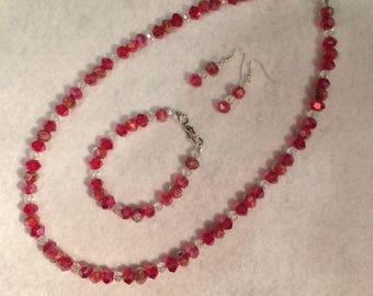 Red Velvet Beaded Necklace Set The Allie Rose Collection from Patchell's Boutique