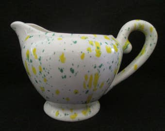 Vintage Green and Yellow Splatter Ware Ceramic Pottery Creamer Miniature Pitcher