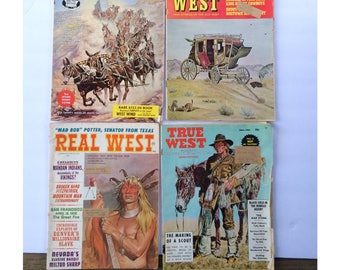 Western Magazines Lot of 4 Real West May 1966 / True West June 66 / Old West Winter 66 / Golden West March 66