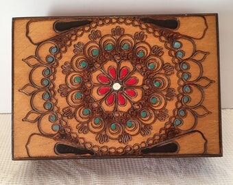 Wooden Box ~ Carved Painted Box ~ Trinket ~ Keepsake Box ~ Hinged Box ~ Red Blue Brown White ~ Vintage