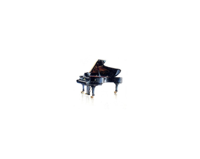 """Artist Proof of miniature painting of a Grand Piano. 1 1/4"""" x 1 1/4"""" print of original Piano painting on 5"""" square german etching paper"""