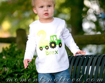 2nd Birthday Tractor Shirt, Tractor Birthday Shirt, Boy Birthday Shirt, Personalized Birthday Shirt, John Deere Birthday Shirt, Boy Birthday