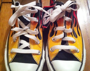 dead stock Converse low Chuck Taylor All Star 90s yellow to red flames pattern US women 6 men 4 UK 4 EU 36,5 rare & collectible