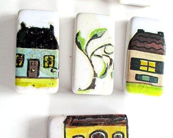 Lot of Eight Vintage Embellished Ceramic Tiles w/painted Houses to Finish or Use As is, Glittered, French Ephemera