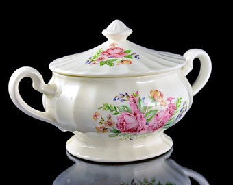 Sugar Bowl, Edwin Knowles, Semi Vitreous, Picardy Pattern, Floral Pattern, Lidded, Hard to Find