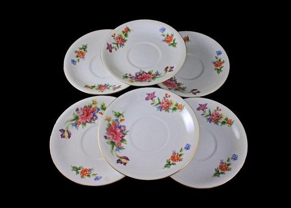 Saucers Sango China, Occupied Japan, Floradel, Floral Pattern, Multi-floral, Gold Trim, Set of 6, Bone China