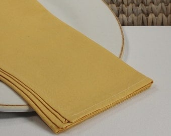 Cloth napkins, gold dinner napkins, cotton fabric napkins, yellow table linens, table settings, dining table napkins, set of 4 size 18x18
