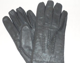 Vintage 1970s NEW CHARCOAL Grey Gloves 4 Men/Made in China/Mens Winter Gloves/New Never Worn Gloves for Men/Warm Acrylic Lined Winter Gloves