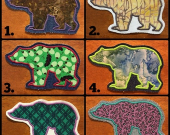 Handmade Bear Appliquéd Patch - Bear Patch - Native - Tribal - Grizzly Bear - Black Bear - California Bear - Animal Patch