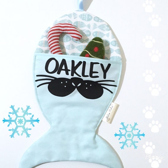 Personalised cat stocking fish christmas stocking by for Fish christmas stocking
