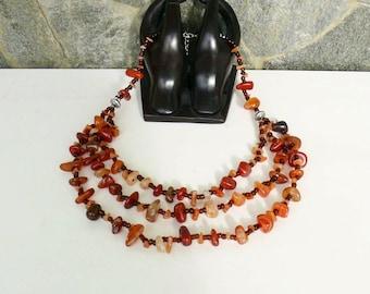 Beautiful Vintage Bulgarian Necklace with Semi Precious Stones. Unique combination of semi precious stones, beads and metal.