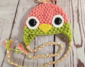 Bird Hat - Earflap Hat - Crochet Hat - Baby Hat - Girl Hat - Baby Girl Hat - Photo Prop - Costume Hat - Cosplay - Animal Hat - Bird - Toque