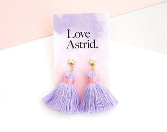 Light purple tassel earrings for her birthday gift, purple statement earrings boho chic style, stylish bohemian earrings / MOONFLOWER