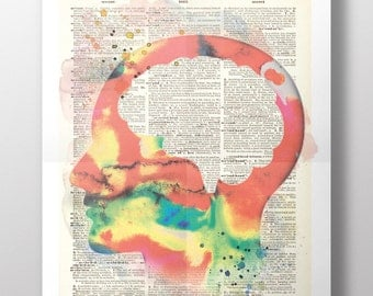 Brain Upcycled Dictionary Art - Watercolour Print - Poster - Reading - Psychedelic- Student - The Mind -Learning - Motivation - Philosophy