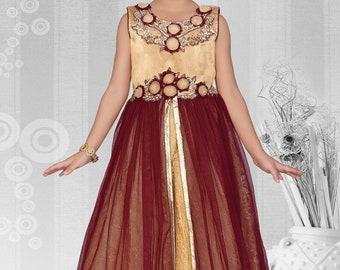 Partywear Fancy Kid Long Ball dress Prom Dress Gown Anarkali Frock age 3-18 yrs
