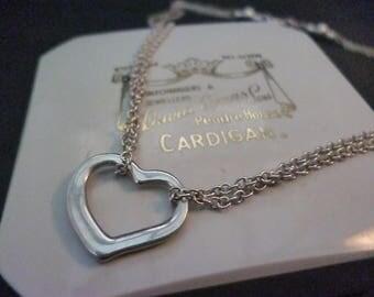 "Unique sterling silver heart necklace - 925 - double layer - vintage - 16"""