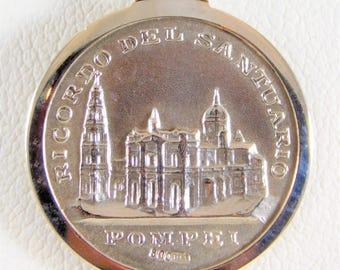 Vintage Silver Ave Maria Pompei Pendant