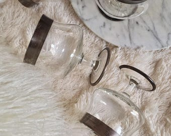 Dorothy Thorpe Silver Band Cocktail Glasses, Brandy Snifter, Set of (6)
