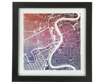 "Fundraser for Coen: Multi color winnipeg map print 10""x10"" frame included"