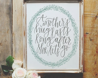 A mother's hug lasts long after she lets go Print