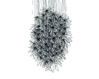 Flowers, art, line, lines, drawing, drawings, paper, black and white, b&w, pen, ink, sumi, handmade, abstract, Japanese, pattern, original