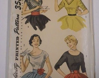 Simplicity 4213 misses blouses size 12 bust 30 vintage 1950's sewing pattern No envelope
