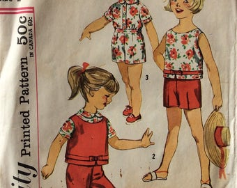 Simplicity 3027 girls top, blouse, pants & shorts size 2 vintage 1950's sewing pattern