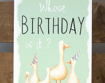 Whose Birthday Is It? Ducks Geese Blank Greeting Card 7x5""