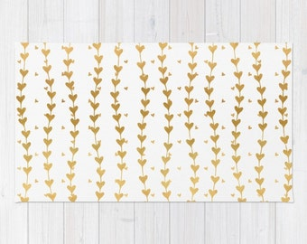 Gold Heart Pattern Area Rug And White Hearts Striped 2x3 Modern Girls 3x5