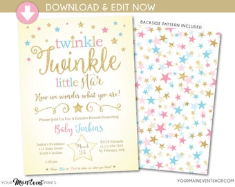 Twinkle Twinkle Little Star Gender Reveal Invitation • Blue, Pink and Gold Star Gender Reveal Party Invite • Instant Download File