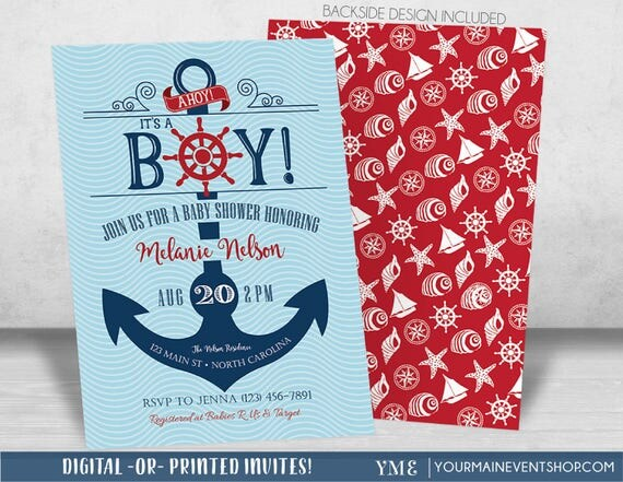 Nautical Anchor Baby Shower Invitation - Ahoy It's a Boy, Beach Boy Baby Shower - Anchor Invite # 023