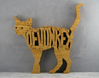 Devon Rex cat wood word art Devon Rex cat puzzle freestanding cat for shelf or  desk display scroll saw fretwork