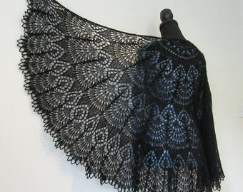 To order. Hand knitted 100% wool lace shawl decorated with 480 sparkling beads. Choose your favourite colour.