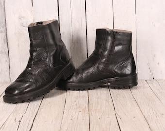 Vintage Men Ankle Boots, Leather Boots Men, Black Leather Boots, Leather Boot Ankle, Mens Vintage Black Military Combat Boots