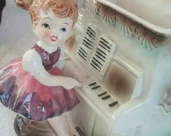 Vintage Planter Girl Playing Piano, Relpo 6011, Made in Japan