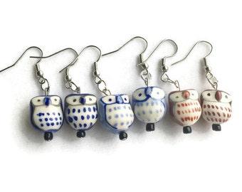 Ceramic Owl Earrings, Brown Owl Earrings, Blue Owl Earrings, Boho Earrings, Boho Jewelry, Owl Jewelry, Fall Jewelry, Glass Owl Earrings