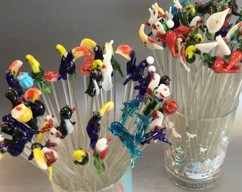"Set of 10 - 8"" Handblown Glass Swizzlesticks Stir Sticks Random Birds, Flowers, Animals Cocktail"