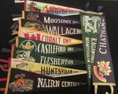 Vintage Felt Travel Pennants - Ontario - Chatham, Kagawong, Nairn Centre, Huntsville, Flesherton, Castleford, Cobalt, Wallaceburg, Moosonee